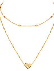 cheap -golden thin chain alloy peach heart pendant multi-layer clavicle chain women style necklace
