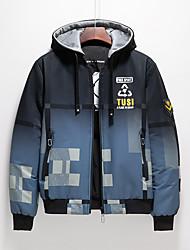 cheap -Men's Jacket Daily Fall Winter Regular Coat V Neck Regular Fit Windproof Rain Waterproof Quick Dry Casual Jacket Long Sleeve Color Gradient Geometric Print Blue Light Grey Red / Letter