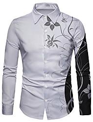 cheap -Men's Shirt 3D Print Floral 3D Print Button-Down Long Sleeve Street Tops Casual Fashion Breathable Comfortable White / Sports