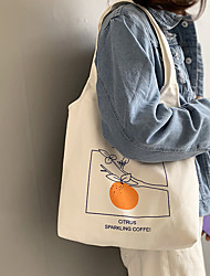 cheap -Canvas Shoulder storage bag back to school Halloween goody bag orange peach fruit portable grocery shopping cloth book tote   37*36 cm