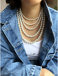cheap -Women's Beaded Necklace Beads Fashion Vintage Holiday Boho Imitation Pearl Alloy White 35 cm Necklace Jewelry 1pc For Gift Masquerade Prom Birthday Party Festival
