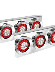 cheap -OTOLAMPARA DC24V 162W LED Truck Trailer Tail Lights Bar with Chrome Iron Bracket Base Waterproof IP67 4 Inch Round Led Trailer Tail Lights Bar Stop Turn Signal Running Parking Lights Lamps RV Campers