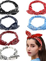 cheap -6 Pcs/set Cross Border Rabbit Ear Knot Elastic Hair Band 6-color Elastic Headband Steel Wire Fixed Female Hair Accessories