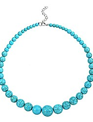 cheap -handmade multicolor beaded simulated turquoise strand statement chunky necklace for women girls hawaiian bohemia jewelry-blue