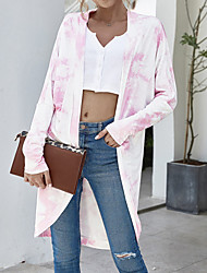 cheap -Women's Coat Causal Daily Holiday Spring Summer Long Coat Regular Fit Warm Basic Casual Jacket Long Sleeve Tie Dyed Print Blue Blushing Pink Grey / Cotton