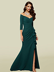 cheap -Mermaid / Trumpet Mother of the Bride Dress Elegant Sexy V Neck Off Shoulder Court Train Stretch Fabric 3/4 Length Sleeve with Draping Split Front 2021