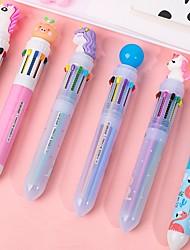 cheap -4pscs/lot Cute Cartoon 10-color Ballpoint Pen Student Push-type Colored Pen Multi-function Ten-color In One Push Ballpoint Pen