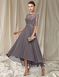 cheap -A-Line Mother of the Bride Dress Elegant Jewel Neck Asymmetrical Ankle Length Chiffon Lace Half Sleeve with Pleats Appliques 2021