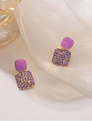 cheap -Women's Cubic Zirconia Earrings Fashion Classic Earrings Jewelry Purple For Street 1 Pair