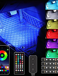 cheap -Car Interior Lights with Bluetooth App Control, 4PC Underdash Lighting Kits with Remote, USB RGB LED Strip Lights for Cars Trucks with 16 million Colors, Sync to Music, Timer and Universal Fit