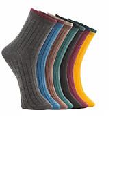 cheap -Comfort Men's Socks Solid Colored Socks Medium Casual Multi color 7 Pairs
