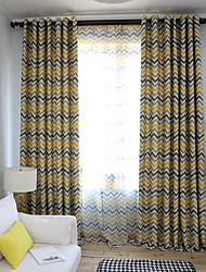 cheap -Grommet Two Panels Window Curtain Window Treatments Room Darkening Water Ripple for Living Room Bedroom Dining Room Kids' Room Geometric Pattern