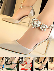 cheap -Women's Heels Glitter Crystal Sequined Jeweled High Heels Ankle Strap Heels High Heel Luxurious Party Wedding Satin Crystal Summer Red Blue Pink / 3-4 / EU36