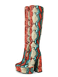cheap -Women's Boots Flare Heel Round Toe Crotch High Boots Party Daily PU Snakeskin Snake Rainbow / Mid-Calf Boots
