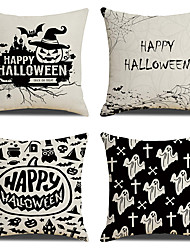 cheap -Halloween Double Side Cushion Cover 4PC Soft Decorative Square Throw Pillow Cover Cushion Case Pillowcase for Bedroom Livingroom Superior Quality Machine Washable Indoor Cushion for Sofa Couch Bed Chair Bat Pumpkin Grave