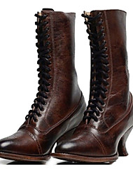cheap -Women's Boots Brogue Spool Heel Round Toe Mid Calf Boots Vintage Daily PU Lace-up Solid Colored Winter Black Brown / Mid-Calf Boots