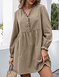 cheap -Women's A Line Dress Short Mini Dress caramel colour khaki Black Brown Long Sleeve Solid Color Ruched Ruffle Fall Spring V Neck Casual 2021 S M L XL