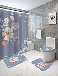 cheap -Artistic Flower Theme Series Digital Printing Four-piece Set Shower Curtains and Hooks Modern Polyester Machine Made Waterproof Bathroom