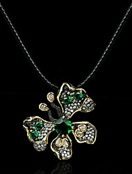 cheap -Women's Clear Green AAA Cubic Zirconia Pendant Necklace Retro Butterfly Artistic Gothic Vintage European Brass Black 50 cm Necklace Jewelry 1pc For Halloween Street Masquerade Festival
