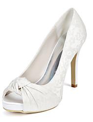 cheap -Women's Wedding Shoes Stiletto Heel Peep Toe Wedding Pumps Wedding Lace Floral Light Purple Ivory White