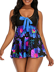 cheap -Women's One Piece Swim Dress Swimsuit Bow Print Floral Blue Fuchsia Swimwear Scoop Neck Bathing Suits New Casual Vacation