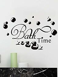 cheap -bath time bubble bath duckling vinyl wall decals, removable waterproof bathroom wall art stickers decor sink tub, diy murals for bathroom washroom lavatory decoration(black)