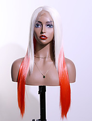 cheap -Synthetic Lace Wig kinky Straight Style 24 inch Red With Bangs 4x13 Closure Wig Ladies Wig White+Red
