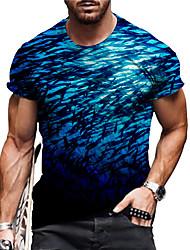 cheap -Men's Unisex Tee T shirt Shirt 3D Print Graphic Prints Underwater World Print Short Sleeve Daily Regular Fit Tops Casual Designer Big and Tall Blue / Summer