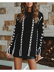cheap -Women's Pullover Sweater Split Heart Hot Chunky Acrylic Fibers Long Sleeve Sweater Cardigans Round Neck Fall Spring Blushing Pink White Black / Going out