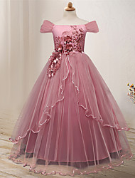 cheap -Kids Little Girls' Dress Floral Flower Tulle Dress Formal Wedding Party Birthday Party Beads Bow Red Blushing Pink Navy Blue Elegant Gowns Dresses