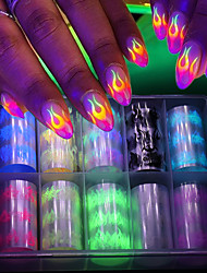 cheap -10 Roll/Box Luminous Fire Flame Nail Foil Set Nail Art Transfer Sticker Decal Yellow Blue Slider Starry Papers Decoration