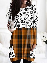 cheap -Women's Halloween Abstract Painting T shirt Plaid Graphic Pumpkin Long Sleeve Pocket Print Round Neck Basic Halloween Tops Orange / 3D Print