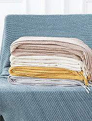 cheap -Cotton Polyester Blend Throw Blanket All Season For Couch Chair Sofa Bed Picnic Knit Handmade Nordic Rustic Style Tassels/Fringes Solid Soft Fluffy Warm Cozy Plush Autumn Winter 130*150cm
