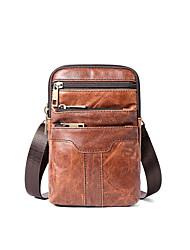 cheap -Men's Bags Nappa Leather Cowhide Crossbody Bag Zipper Daily Handbags Brown Coffee