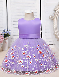 cheap -Ball Gown Knee Length Flower Girl Dresses Wedding Tulle Sleeveless Jewel Neck with Lace