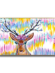 cheap -Oil Painting Handmade Hand Painted Wall Art Holiday Mascot Elk Cartoon Animal Home Decoration Decor Rolled Canvas No Frame Unstretched