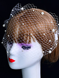 cheap -Headdress Bride Retro Pearl Veil Nail Bead Mesh Performance Ball Party Hair Accessories Va05