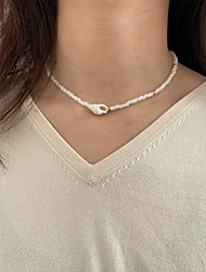 cheap -Women's Choker Necklace Beaded Necklace Handmade Shell Ethnic Fashion European Sweet Imitation Pearl White 35-40 cm Necklace Jewelry 1pc For Street Prom Birthday Party Beach Festival