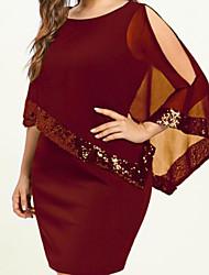 cheap -Women's Plus Size Dress Sheath Dress Knee Length Dress Sleeveless Solid Color Sequins Patchwork Hot Fall Summer Blue Purple Yellow L XL XXL 3XL 4XL