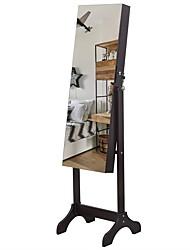 cheap -Full Mirror Wooden Foor Standing 4-layer Shelf with Inner Mirror 2 Drawer Jewelry Storage Adjustable Mirror Cabinet -Dark Brown
