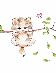 cheap -wall decorations for living room wall sticker cartoon cat on the tree branch stickers self- adhesive removable wallpaper wall art for nursery living room kid room decor