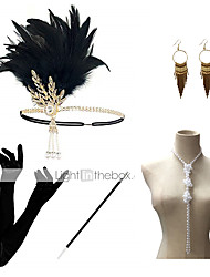 cheap -Headbands Earrings Pearl Necklace Halloween Costume Outfits 1920s Halloween Alloy For The Great Gatsby Cosplay Women's Costume Jewelry Fashion Jewelry / Gloves / Gloves