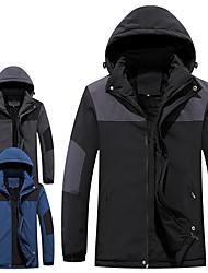 cheap -Men's Parka Daily Work Fall Winter Regular Coat Regular Fit Thermal Warm Windproof UV Resistant Warm Sports Jacket Long Sleeve Plain Quilted Blue Dark Grey Black