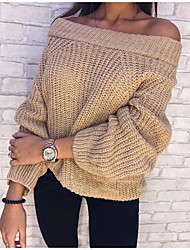 cheap -Women's Pullover Sweater Knitted Solid Color Stylish Casual Long Sleeve Loose Sweater Cardigans Off Shoulder Fall Winter Blushing Pink Grey khaki