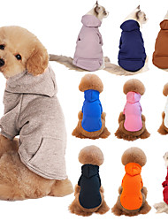 cheap -Dog Cat Hoodie Sweatshirt Solid Colored Headwarmers Casual / Sporty Sports Casual / Daily Winter Dog Clothes Puppy Clothes Dog Outfits Warm Black Blue Pink Costume for Girl and Boy Dog Cotton XXS XS