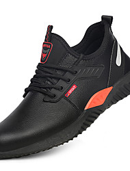 cheap -Unisex Safety Shoe Boots Lace up Classic Chinoiserie Office & Career Safety Shoes Leather Suede Wear Proof Black / Red Black Fall Spring