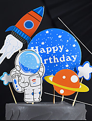 cheap -Baking Cake Decoration Space Astronaut Laser Letters Birthday Three-dimensional Balloon Plug-in Airplane Star Ornaments