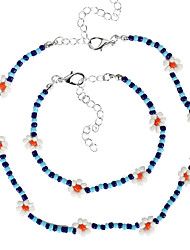 cheap -jewelry, personalized color beaded ethnic necklace, creative rice bead woven flower necklace set