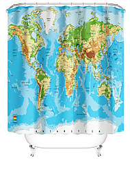 cheap -Bathroom Shower Curtains World Map Pattern Contemporary Polyester Waterproof