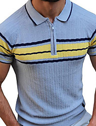 cheap -Men's Unisex Pullover Knitted Striped Stylish Vintage Style Short Sleeves Sweater Cardigans Shirt Collar Summer Light Blue Large amount of spot long-term supply Navy Blue